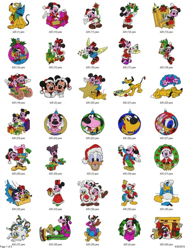 disney christmas embroidery designs set