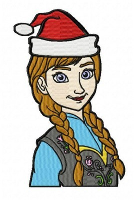 Frozen Anna Christmas Embroidery Design