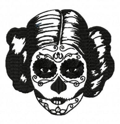 Star Wars Princess Leia Sugar Skull Embroidery Design