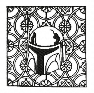 Star Wars Boba Fett Block Style Embroidery Design