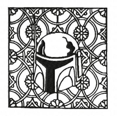 Star Wars Boba Fett Block Style Embroidery Design