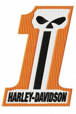 Harley Davidson Number One Skull Embroidery Design