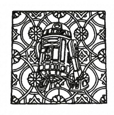 Star Wars R2D2 Block Style Embroidery Design