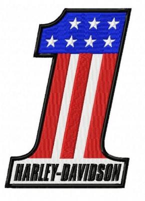 Harley Davidson Patriotic Number 1 Embroidery Design
