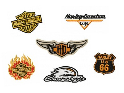 Harley Davidson Set 3 Embroidery Designs 6 Pack