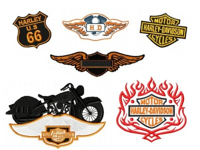 Harley Davidson Embroidery Designs Set 4 6 Pack