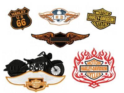 Harley Davidson Embroidery Designs Set 4 6 Pack