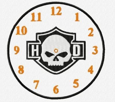 Harley Davidson Clock Face Embroidery Design