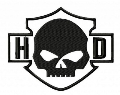 Harley Davidson Skull HD Black Embroidery Designs