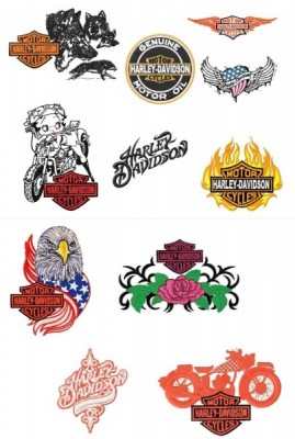 Harley Davidson Embroidery Designs Set