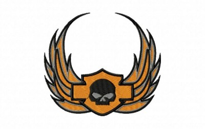 Winged Harley Davidson Logo With Skull Embroidery Design